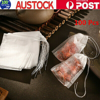 100X Empty tea bag Heat sealing filter paper clean Loose bag String Teabag Herb