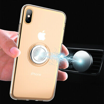 For iPhone Xs Max X 8 Clear TPU Shockproof Case Cover W/ Magnetic Ring Kickstand