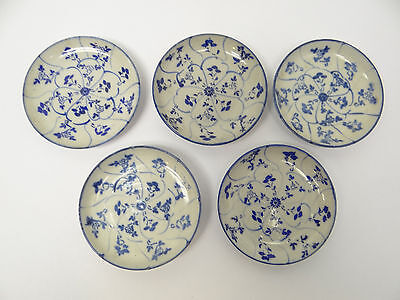 Vintage Lot Used Glazed Blue White Chinese Pottery Small Appetizer Bowls Kitchen