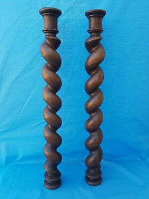 "63"" Antique French: Pair Spiral Turned Twist Oak Pillars Architectural Columns"