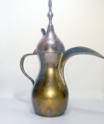 Antique Islamic Dallah Arabic Sined Brass Coffee Pot  قَهوة