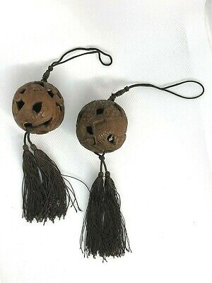 Pair of Chinese Carved Nut Tassel Cords, Qing Dynasty, Dragons