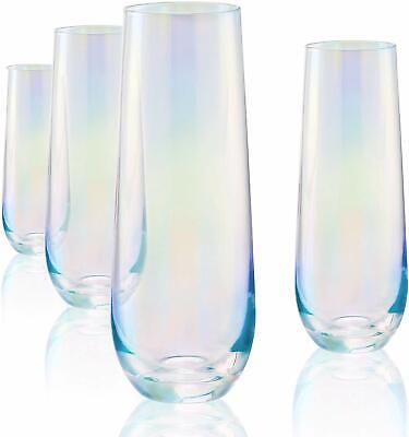 Circleware Stemless Flute Radiance White Pearl Clear Luster Drinking Glasses