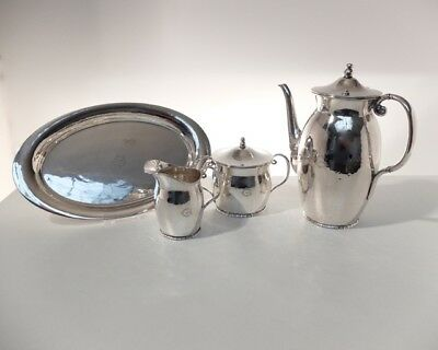 Antique coffee set 4 pcs Norwegian silver 830S mark David Andersen 1889-1925