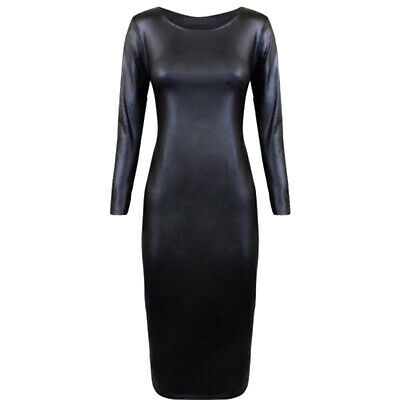 Women's Long Sleeve Stretchy Body-Con Maternity Jersey Midi Dress Wet Look