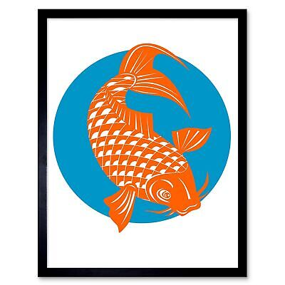 Painting Koi Carp Gold Fish Japanese Scales Tail Fin 12X16 Inch Framed Art Print