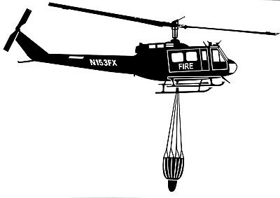 """BELL IROQUOIS - UH-1H - 'FIRE BOMBER' - Adhesive Vinyl Decal - Size - 8.75"""" x 6"""""""