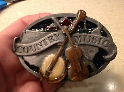 Vintage Men's Belt Buckle 1984 Country Music Pewter Banjo and Fiddle Map Of USA