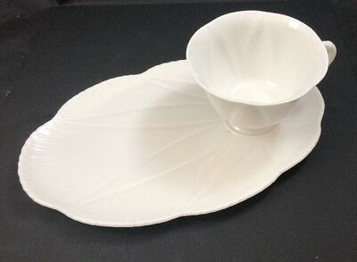 RARE Shelley England Bone China Dainty White (No Trim) Snack Plate And Cup Set