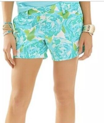 2eeafeab7bd809 LILLY PULITZER Callahan Shorts Poolside Blue First Impression Green Floral 0