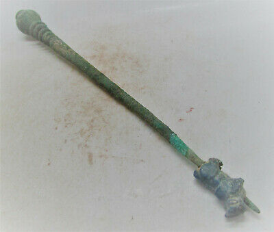Very Rare Ancient Luristan Bronze Cloak Pin, Lapiz Lazuli Ram Seal, 1200-800Bce