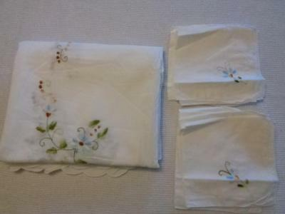"Vintage Blue Brown Green White Embroidered Floral Tablecloth 92"" x 54"" 9 Napkins"