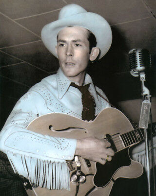 """HANK WILLIAMS COUNTRY WESTERN SINGER LEGEND 8x10"""" HAND COLOR TINTED PHOTOGRAPH"""