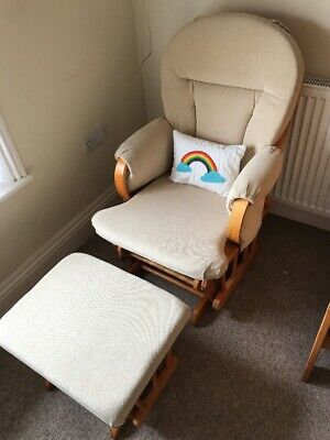 Cream Nursing Chair and Stool, Very Good Used Condition.