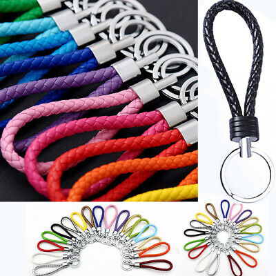 Long Two Circle Luxury Leather Rope Strap Weave Key ring Key chain KeyFob Gift