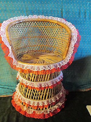 Vintage Wicker Rattan Childs PEACOCK CHAIR PHOTO PROP  22 INS HIGH