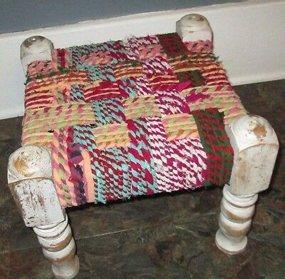 Footstool with rag rug top boho whitewashed wooden legs