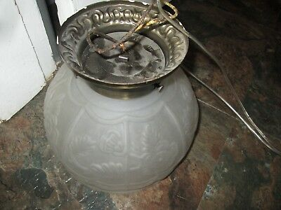 Antique VINTAGE  Frosted Glass Floral Globe Dome Light Fixture Shade