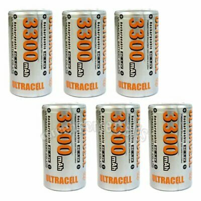 6 pcs Sub C SubC 3300mAh NiMH 1.2V Rechargeable Battery Cell Flat Top Ultracell