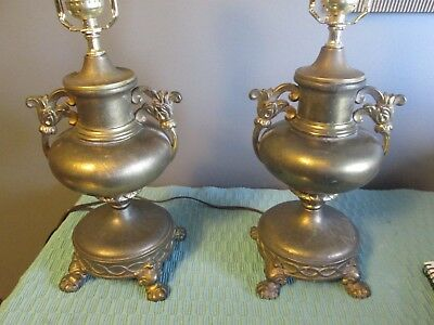 BRASS ANTIQUE EARLY 1900'S PARSONS  CALDWELL PAIR TABLE LAMPS lamp