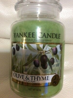 Green NEW Yankee Candle OLIVE /& THYME Large Jar 22 oz