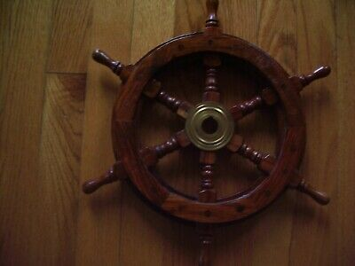 """Wall decor 12"""" nautical solid wood brass authentic looking ships steering wheel"""