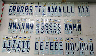 Lot of 50 Cut-up License Plate Letters **FREE SHIPPING**