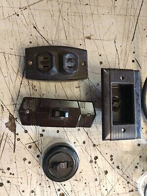Vintage  Brown Bakelite Surface Mount Duplex Outlet Receptacle switch lot clock