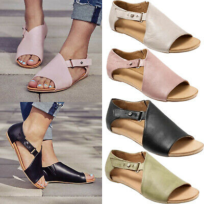 UK Womens Peep Toe Buckle Flat Sandals Ladies Summer Holiday Cut Out Shoes Size