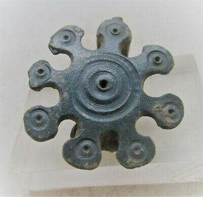 Roman Period Bronze Sunburst Plate Type Brooch With Ring And Dot Motifs