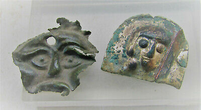 Lot Of 2 Ancient Mount Fragments Male Faces Interesting