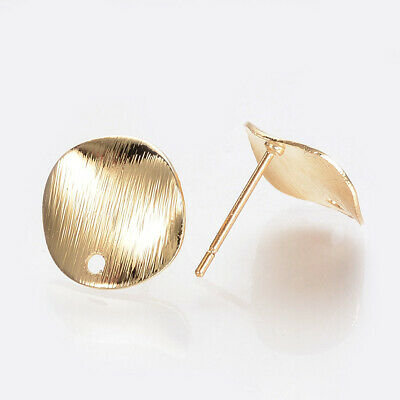 50pcs Gold Plated Brass Stud Jewelry Findings Flat Round Pad Earring Post 12mm