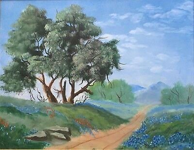"""Texas Bluebonnets Dirt Rd Landscape Oil Painting Canvas Framed Signed 25"""" x 21"""""""