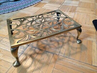 18th To Early 19th Century Brass FP Hearth Trivet Decorative Open Work & Hearts