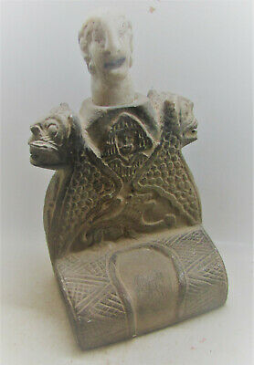 Scarce Ancient Bactrian Stone Diety With Steatite Stone Head 200Bc-200Ad