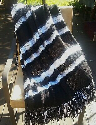 Afghan Throw Blanket Black White Metallic Soft Hand Knitted NEW Handmade Decor