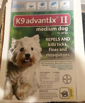 NEW Other Bayer K9 Advantix II Treatment for medium Dogs 11-20 lbs 6 doses