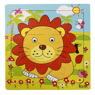Babys Wooden Puzzle Jigsaw Toddler Early Educational Toy Cartoon Animal shan
