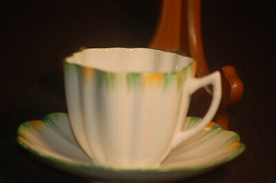 Melba Green bordered scalloped  Cup and Saucer