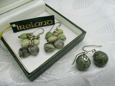 Estate 2 Pair Connemara Marble Heart Dangle Ball Celtic Irish Pierced Earrings