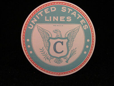 """Two 1947 Vintage Decals SS United States """"C"""", United States Line"""