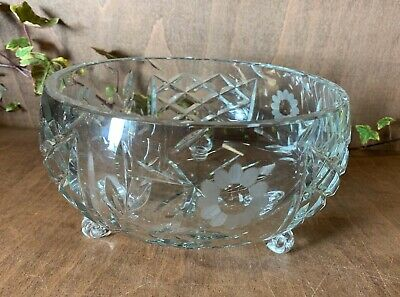 Large & Heavy Lead Crystal Cut Glass Footed Fruit / Serving Bowl