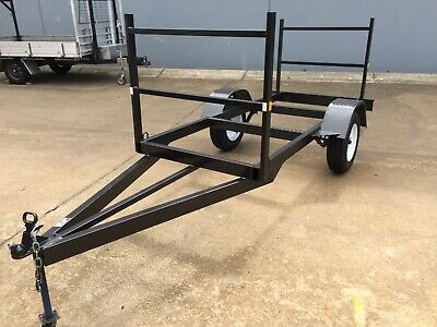 Brand New Single Axle Kayak Surfboard Timber Cargo Pipe Frame Trailer Many Uses