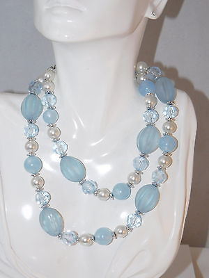 Lovely Vintage Baby Blue Aqua Frosted Faceted Beads Faux Pearl Necklace 2a 106