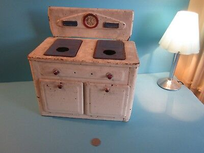 Vintage Toy Tin Candle Stove. White and Blue. Suitable for Refurbishment