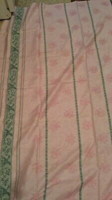 """Vintage Large Tablecloth Pink & Green w/ Birds & Vines Reversible 56x64"""""""