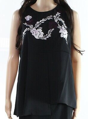cef3903c695bc Alfani NEW Black Women's Size 4 Sheer Floral Embroidered Tank Top $79 091