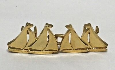 Vintage 1979 Mimi di N gold tone sailboat Belt Buckle