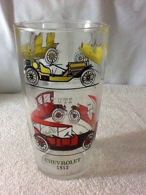 """Vintage Classic Antique CARS AUTOMOBILES DRINKING GLASS, 6 3/4"""" tall, COLLECTIBL"""