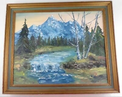 """Mountain Stream Landscape Oil Painting 20"""" X 16"""" - Signed Gail - Vintage Framed"""
